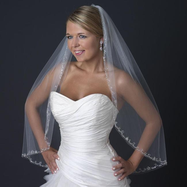 Item - Ivory Medium Single Layer Fingertip Length with Rhinestone Beaded Bridal Veil