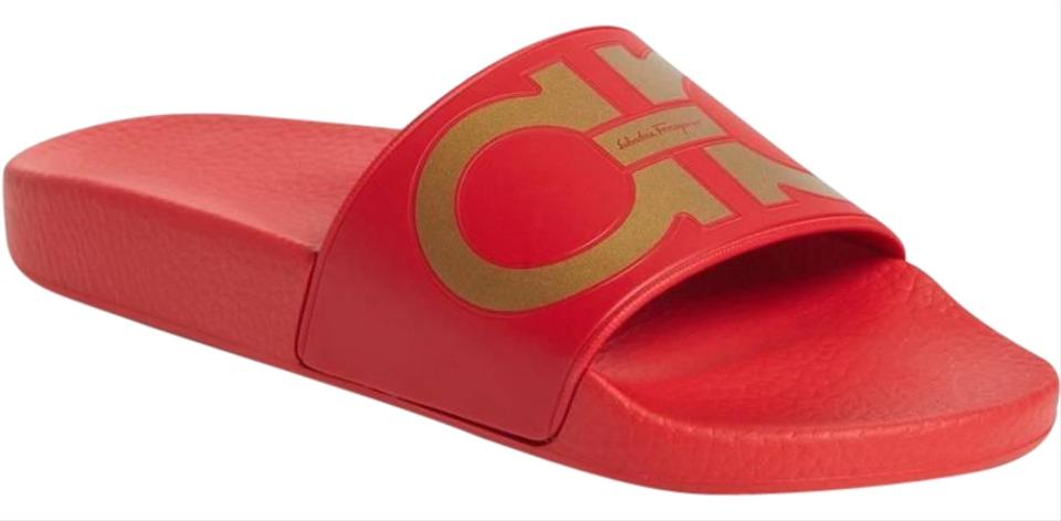 b5c586055670 Salvatore Ferragamo Red New Groove Gold Pool Slide Sandals Size US 6 ...