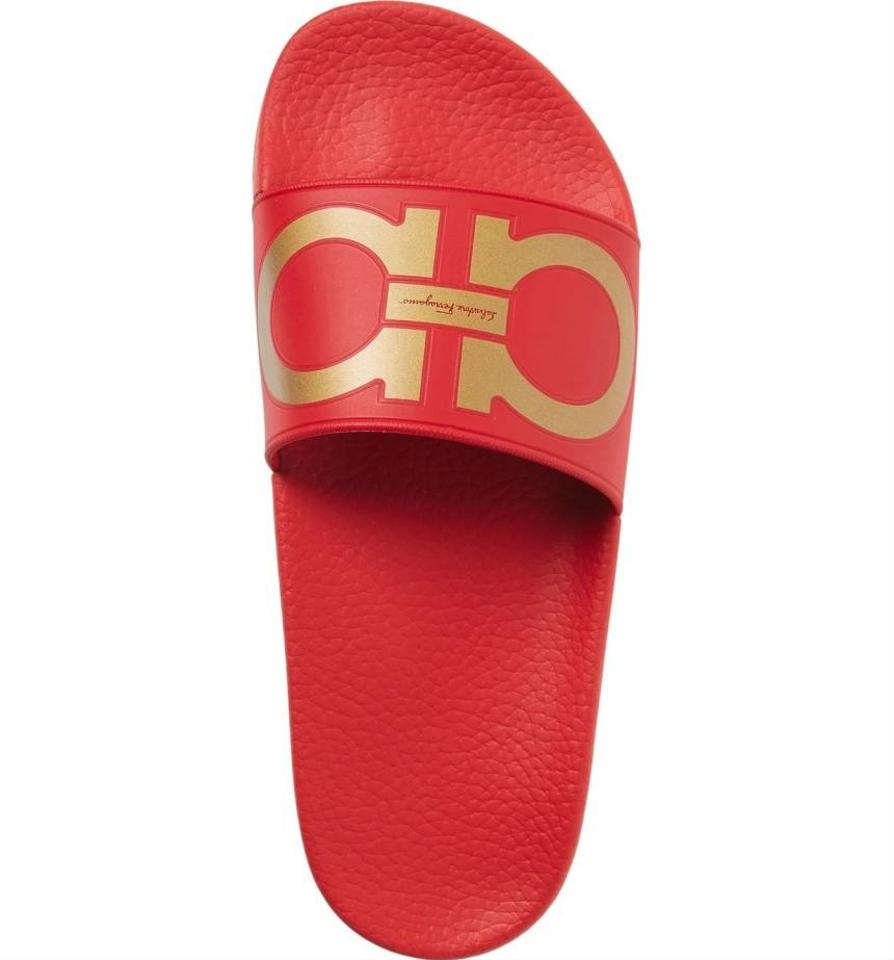 18286d9d24f9f4 ... Slide Pool New Red Sandals Salvatore Ferragamo Gold Groove fYgW6qw ...