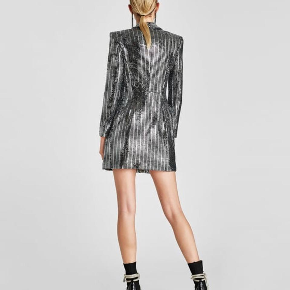 Zara Silver Metallic Sequin Blazer Short Night Out Dress Size 4 (S) - Tradesy