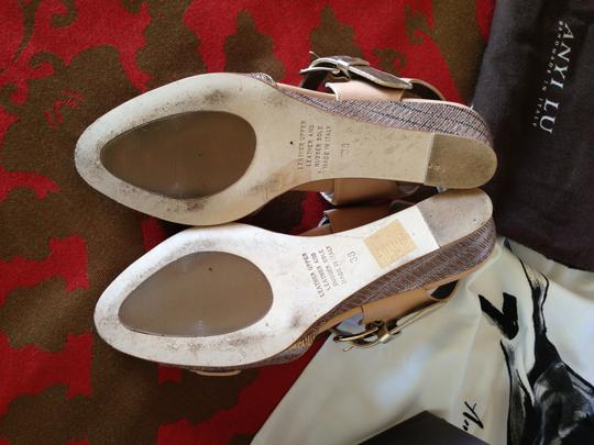 Anyi Lu Daisy Bisque Beige Rose Gold Wedges