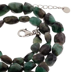 NY Collection Womens Natural Raw Emerald Beaded Strand Necklace 925 Sterling Silver