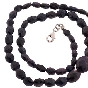 NY Collection Womens Natural Raw Sapphire Beaded Strand Necklace Sterling Silver