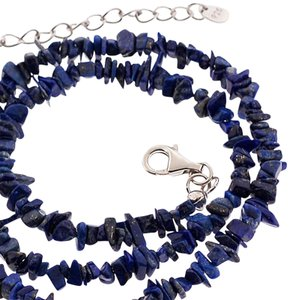 NY Collection Women Natural Raw Lapis Lazuli Beaded Strand Necklace Sterling Silver