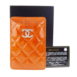 Chanel CHANEL CC Logos Cell Phone Case Patent Leather Orange Italy 01V1087