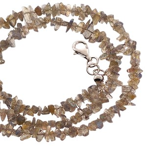 NY Collection Womens Natural Raw Labradorite Beaded Strand Necklace Sterling Silver