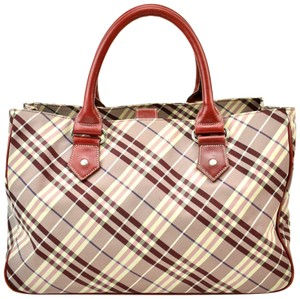 Burberry Nova Leather Check Tote in Red