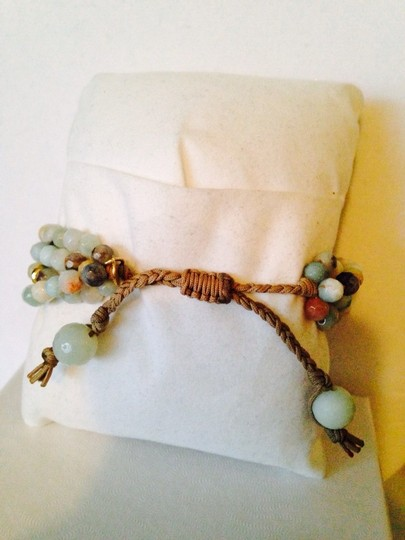 Tai Tai NWOT Faceted Amazonite Gemstone In 14kt Gold-Filled & CZ Cord Bracelet