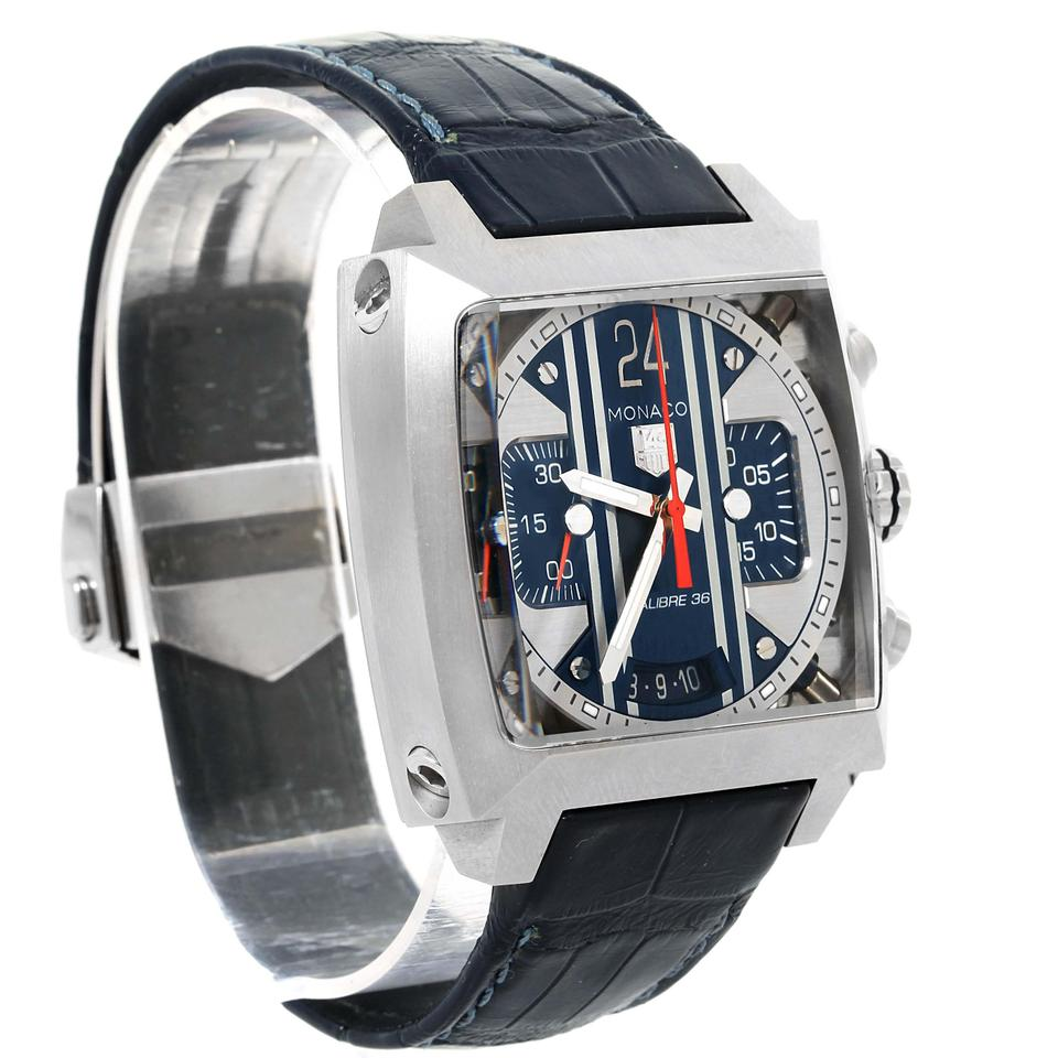 tag heuer blue monaco 24 steve mcqueen chronograph cal5111 watch tradesy. Black Bedroom Furniture Sets. Home Design Ideas