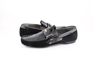 Versace * Black Crocodile Top Loafers Shoes
