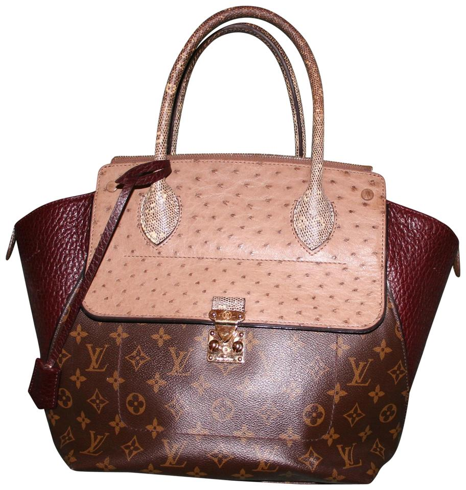 Louis Vuitton Majestueux Mm Ostrich Tote In Burgundy Brown