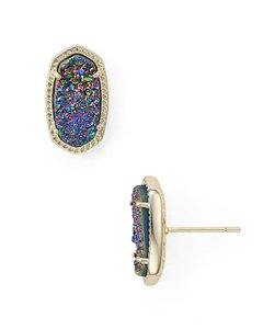 Kendra Scott NEW Kendra Scott Ellie Gold Multi Color Drusy Stud Earrings 14k Gold