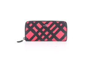 Coach *Coach Slim Accordion Zip Wallet With Wild Plaid Print Red Black Multi