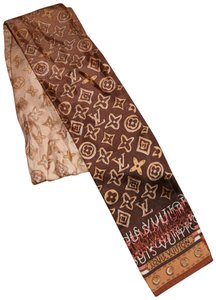 Louis Vuitton Louis Vuitton Brown & Gold Silk Map Bandeau