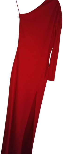 Item - Red Nadia One Shoulder Long Night Out Dress Size 4 (S)