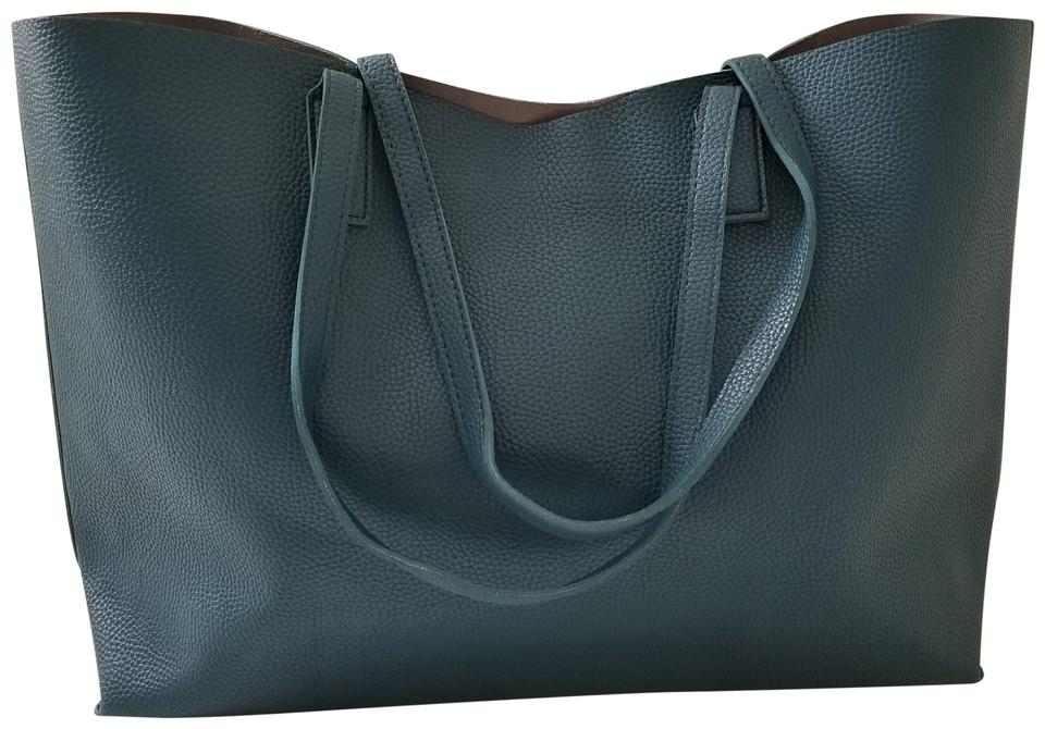 55aa2383d4da Macy s Classic Plain Pebbled Leather Pebbled Leather Travel Tote in teal  Image 0 ...