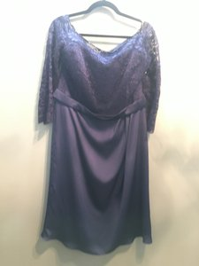 Jasmine Navy Lace/Couture Satin Face Chiffion M160007 Formal Bridesmaid/Mob Dress Size 14 (L)