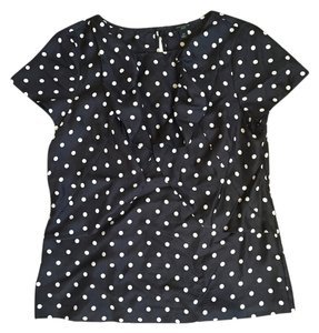 Ann Taylor Silk Top Black with white polka dots