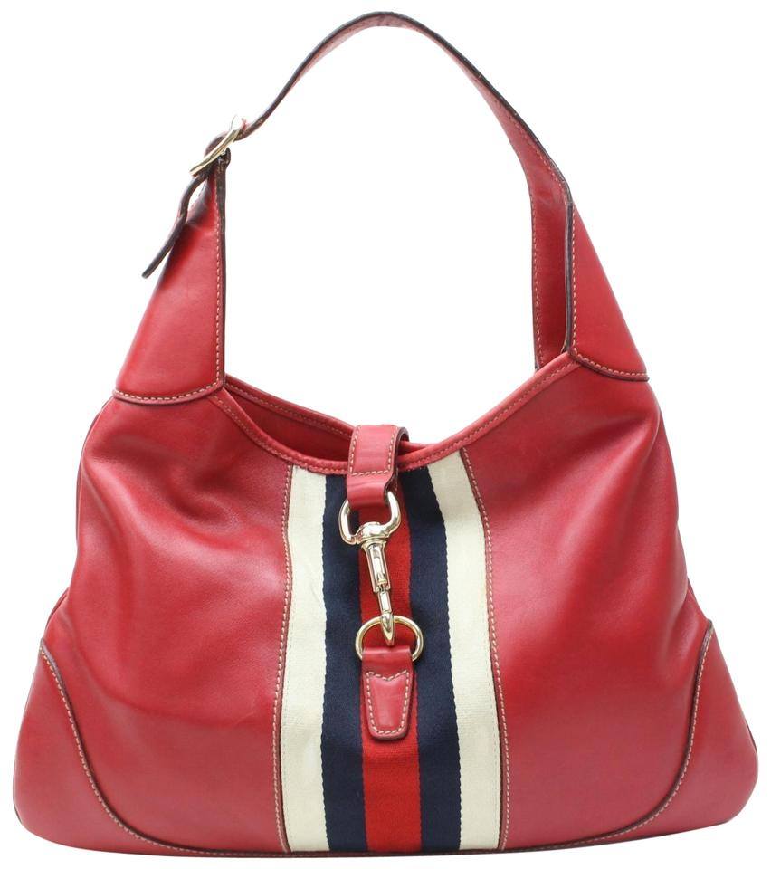 d770c1dd2b8e0 Gucci Jackie Vintage Purses/Designer Purses Red Leather with Navy Red and  White Center Stripe Hobo Bag