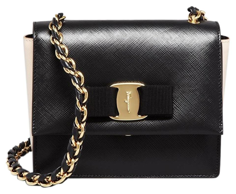 c16d354cda Salvatore Ferragamo Mini Ginny Black New Bisque Calfskin Leather Shoulder  Bag
