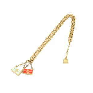 Fendi Fendi Gold Tone Baguette Bag Pendant Charm Necklace