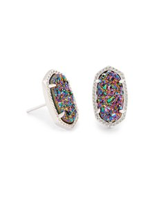 Kendra Scott NEW Kendra Scott Ellie Silver Multi Color Drusy Stud Earrings Rhodium