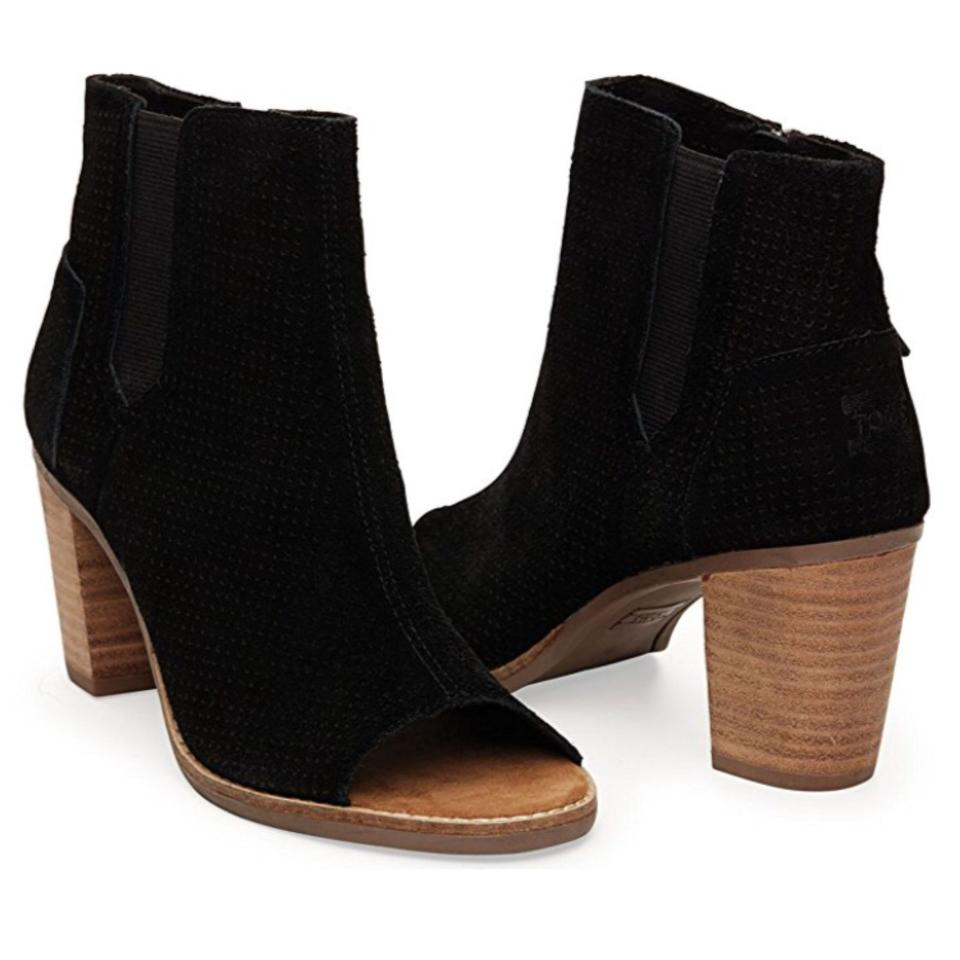 2131e94c6e7 TOMS Black Suede Perforated Majorca Peep Boots Booties Size US 8 ...