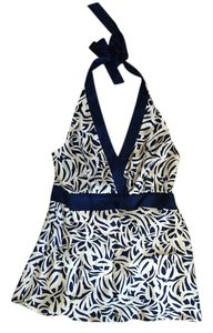 Ann Taylor Blouse Halter Top Blue and White