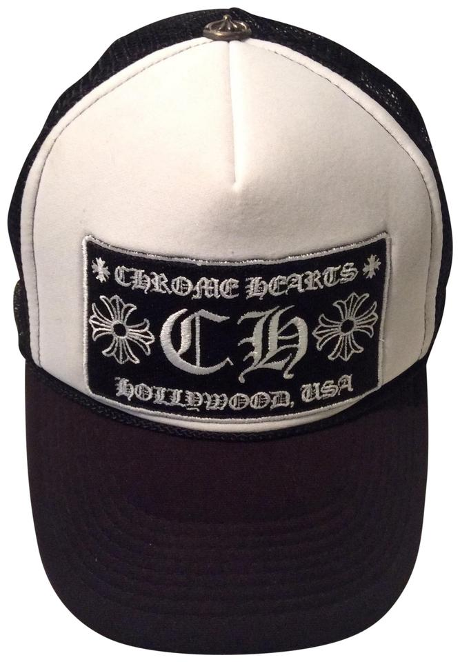 8dfff13bb3c7f Chrome Hearts Mesh Trucker White  Black Cap Hat with CH Patch Hollywood USA  Image 0 ...