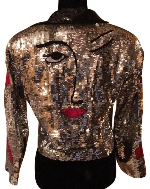 Item - Silver Sequins Motorcycle Silk Jacket Size 10 (M)
