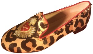 Christian Louboutin Embroidered Applique Spike Studded Mi Corazon Leopard Flats