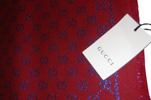 Gucci NEW Two Tone Wool Gucci Scarf Red and Sky Blue