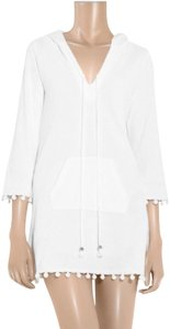 Juicy Couture NEW! JUICY COUTURE WHITE TERRY CLOTH HOODED BEACH COVER SEAM BALLS S
