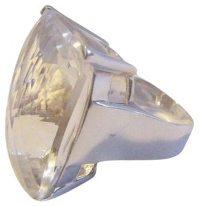HSN .925 Sterling Silver Large Rectangular Faceted Clear Topaz Ring size 8