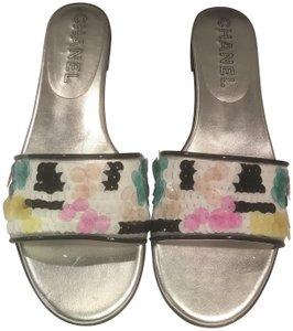 Chanel Sequin Patent Leather Flats Slide Mule White/Black/Multi Sandals