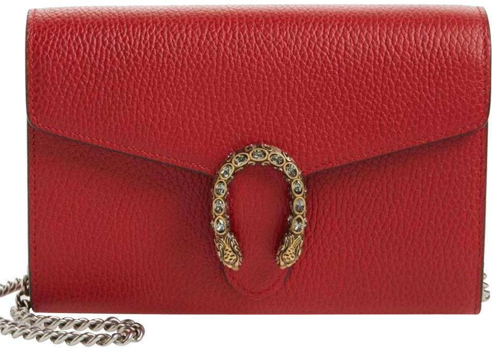 Gucci Dionysus Wallet On A Chain Red Leather Shoulder Bag