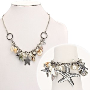 Luciano Dante Seaworld Sealife Seashell Starfish Multicolor Burnish Silver Pearl Necklace Bracelet And Earring
