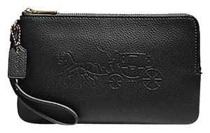 Coach DOUBLE ZIP WALLET F23818 WITH EMBOSSED HORSE AND CARRIAGE