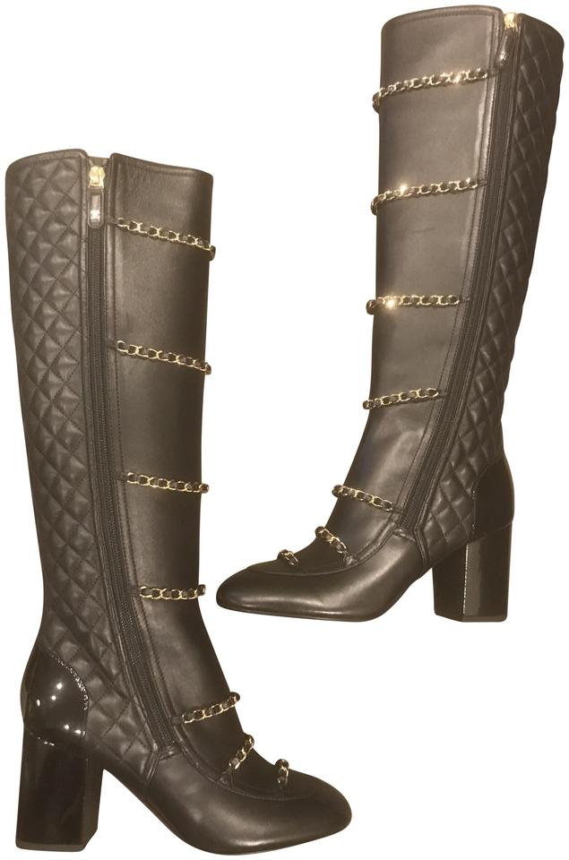 Chanel Black 17b Quilted Leather Chain Zip Knee High Tall Heels