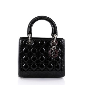 Dior Christian Cannage Patent Tote in Black