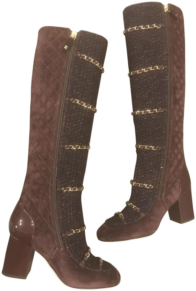 cf53e19edc3 Chanel Burgundy Brown 17b Quilted Suede Tweed Chain Zip Knee High Tall  Patent Heels Boots Booties. Size  EU 37 (Approx.
