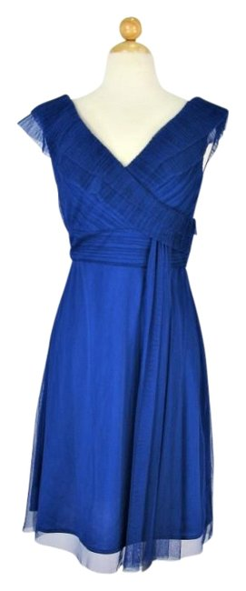 Item - Royal Blue Tiered and Draped Mid-length Cocktail Dress Size 6 (S)