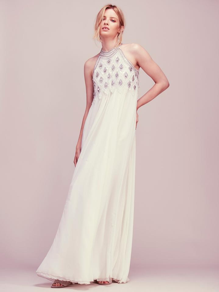 Free People White Silver Candela Crystal Maxi Long Formal Dress Size