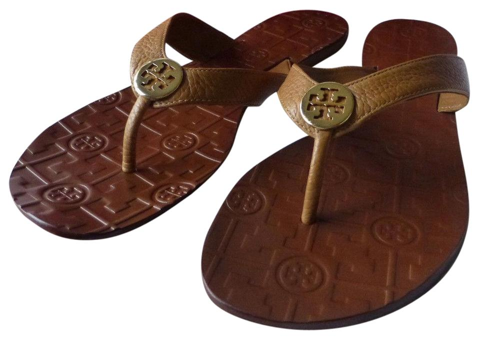 8c18a896b Tory Burch Brown Thora Royal Tan Gold Logo Tumbled Leather Sandals. Size  US  10 ...