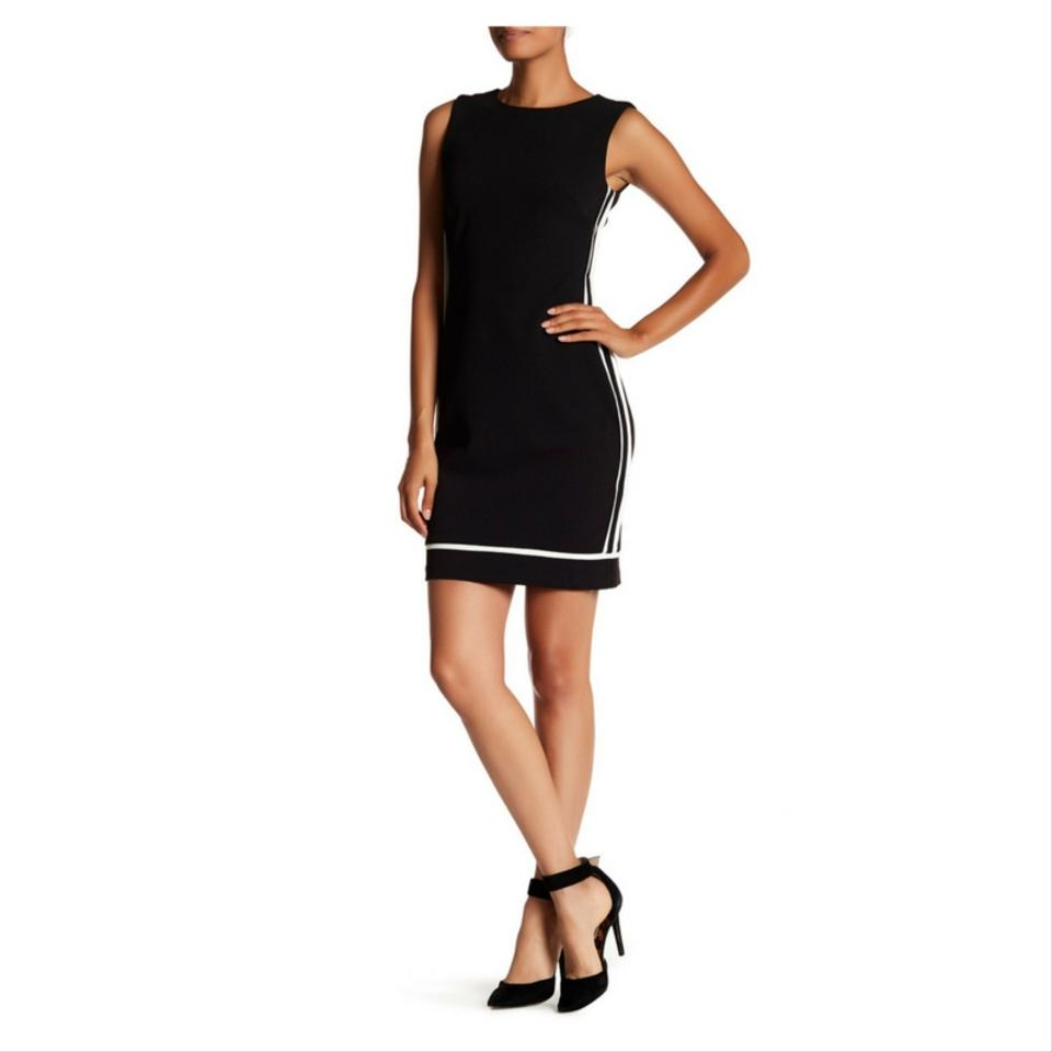 Vince Camuto Black Scuba Bodycon Sleeveless With Ivory