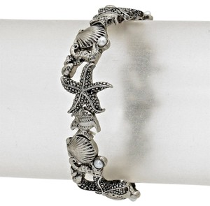 Other Seaworld Sealife Seashell Starfish Antique Burnish Silver Pearl Accent Stretchable Bracelet