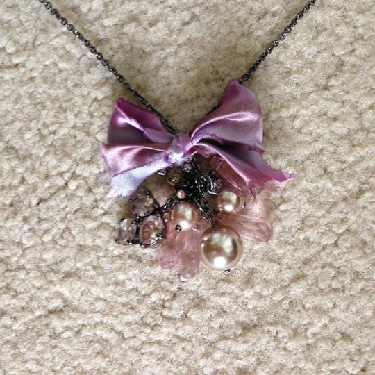 J.Crew NWT J Crew Necklace in Lavender Bow and pearl with Stones.