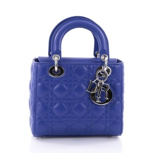 Dior Christian Cannage Lambskin Tote in Blue