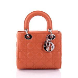 Dior Christian Lady Cannage Tote in Orange