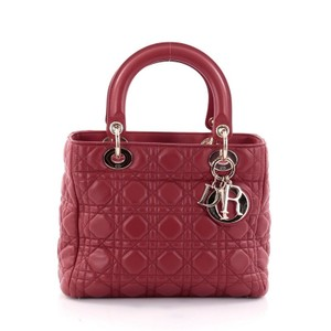 Dior Christian Lambskin Tote in Red